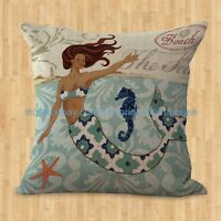 Us Seller- Home Decoration Cover Throw Pillows Mermaid Cushion Cover