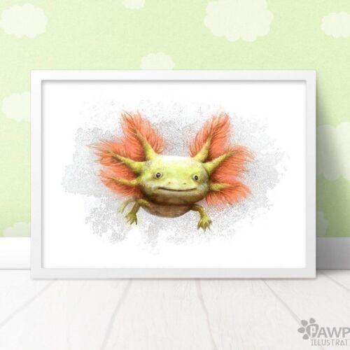 Baby Axolotl Wall Art PrintCute Axolotl Birth Giftframe not included