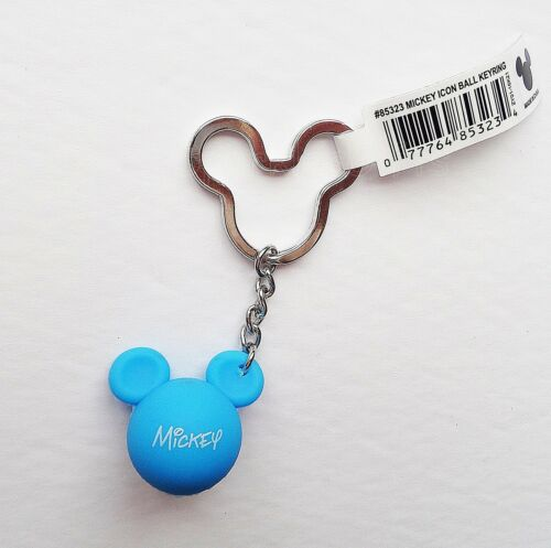Mickey Mouse Blue Mickey Head Ears Icon Ball Keychain//Keyring Disney