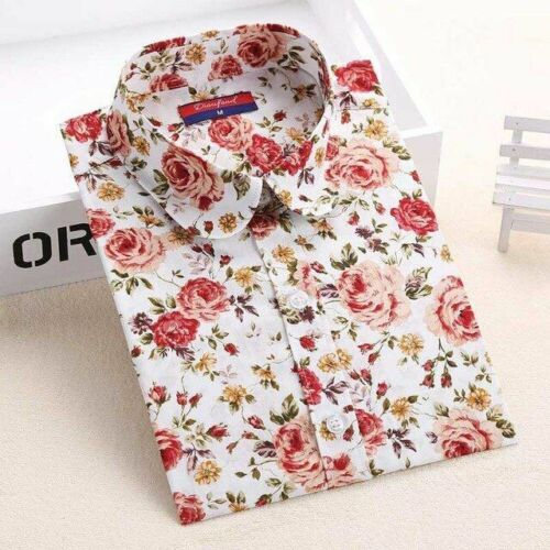 Women/'s Blouse Floral Long Sleeve Vintage Cherry Turn Down Collar Tops Fashion