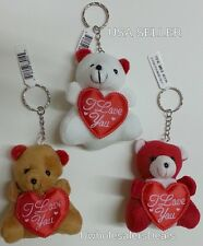 """3 Soft Teddy Bears KEYCHAIN Red Heart""""I Love You""""White,Red,Brown Key Chains"""