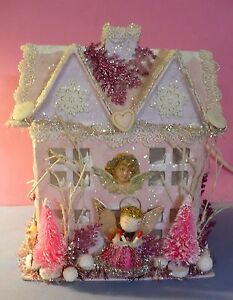 CHRISTMAS-VICTORIAN-PINK-SHABBY-GLITTER-HOUSE-ANGEL-TREES-LIGHTS-UP-VGC