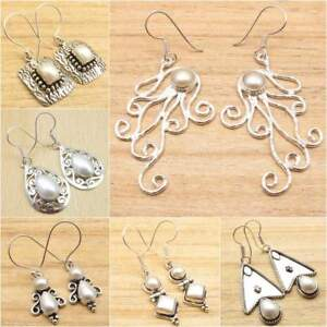 NATURAL-PEARL-Different-Styles-amp-Shapes-925-Silver-Plated-Earrings-Jewelry