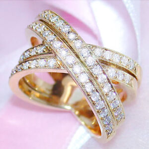Infinity-18k-Yellow-Gold-Women-039-s-Wedding-Rings-White-Sapphire-Ring-Size-6-10
