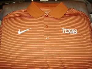 40f45c14 Details about Texas Longhorns NIKE Dri Fit Stadium Orange Striped Polo Golf  Shirt Men's XL