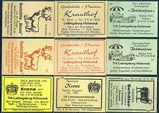 9 Gasthausetiketten alte Postleitzahl 7140, Ludwigsburg-Hoheneck #2