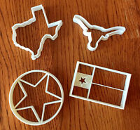 Set Of Four Texas Cookie And Fondant Cutters - Texas Sized Options - Us Seller