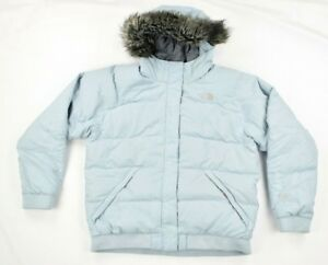 694cd249e38e0 The North Face Girls Light Blue 550 Faux Fur Puffer Outerwear Coat ...