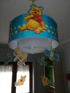 Dettagli su Lampadario Cameretta Bimbi Winnie The Pooh