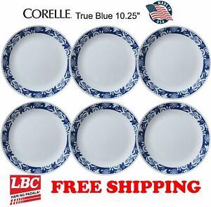 Corelle-true-blue-6PC-dinner-plate-set-10-25inch-NOT-pyrex-corningware