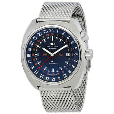 Glycine Airman STT 12 Automatic Blue Dial Mens Mesh Watch 3903.188.MM