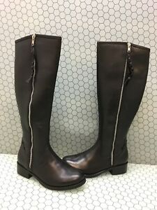 Steve-Madden-LANE-Black-Leather-Side-Zip-Knee-High-Boots-Women-039-s-Size-8-M