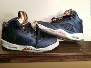 Image is loading Air-Jordan-Retro-5-Obsidian-Bronze-Blue-Size- d0842bbbc