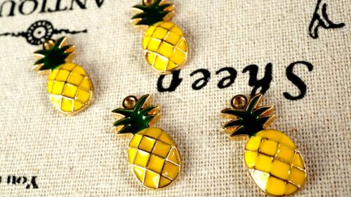 Pineapple enamel charms 4 gold vintage style jewellery supplies C258