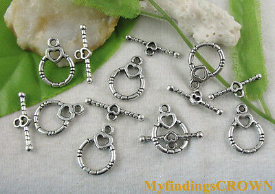 50 Sets Tibetan silver heart circle toggle clasps FC8705