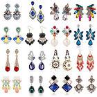 High 1 Pair Elegant Women Vintage Crystal Dangle Ear Stud Silver Plated Earrings
