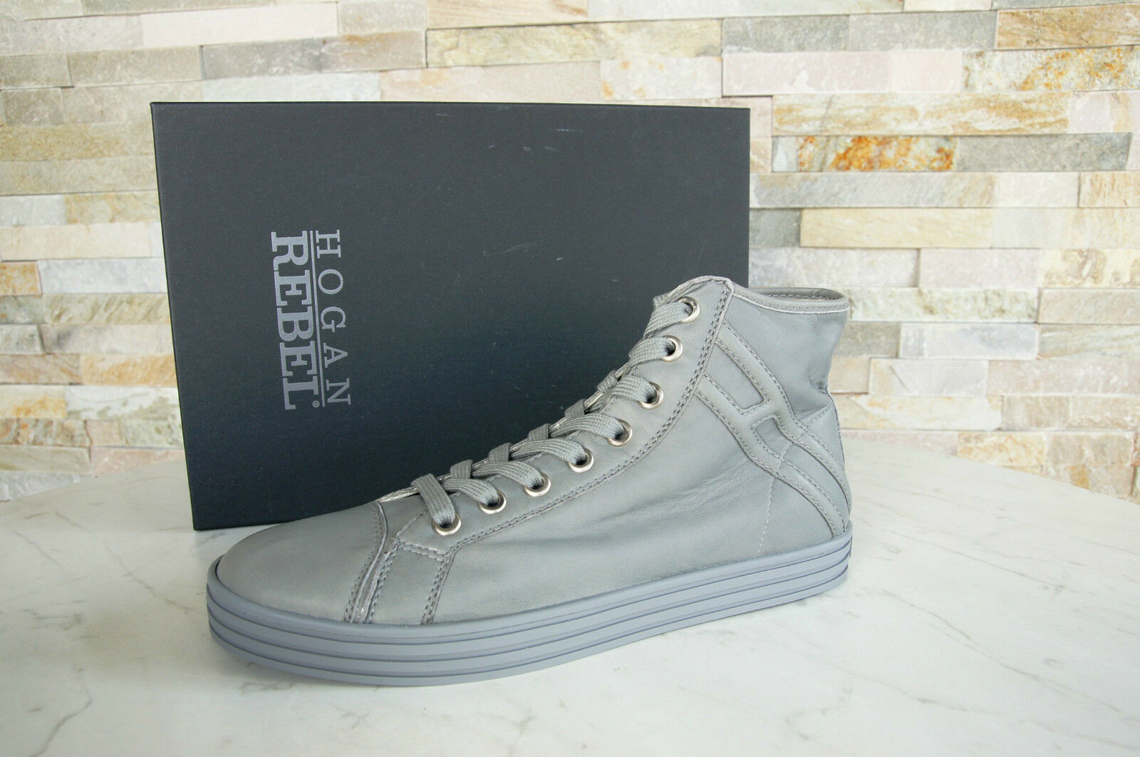 HOGAN REBEL 43 9 High-Top Sneakers Lace Up Shoes Grey Grey NEW