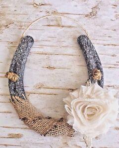 Image Is Loading Shabby Chic Glitter Horseshoe Burlap Amp Ivory Flower