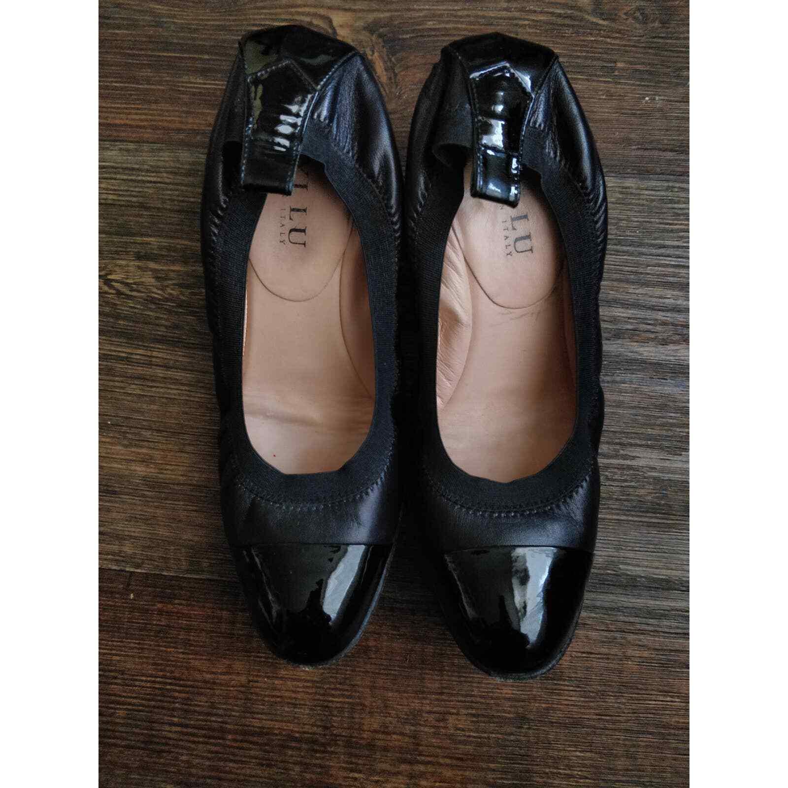 Anyi Lu Italian Paige Black Leather Heeled Ballet Shoes Women's Size 38