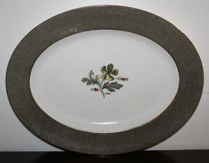 RARE-PATTERN-Wedgwood-Elaine-GREY-POWDER-RIM-W4241-Large-Platter