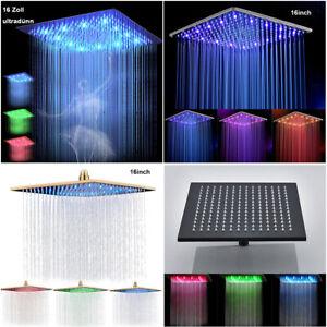 Wasserfall-LED-Duschkopf-Eckig-Regendusche-Kopfbrause-Duschbrause-Regenduschkopf