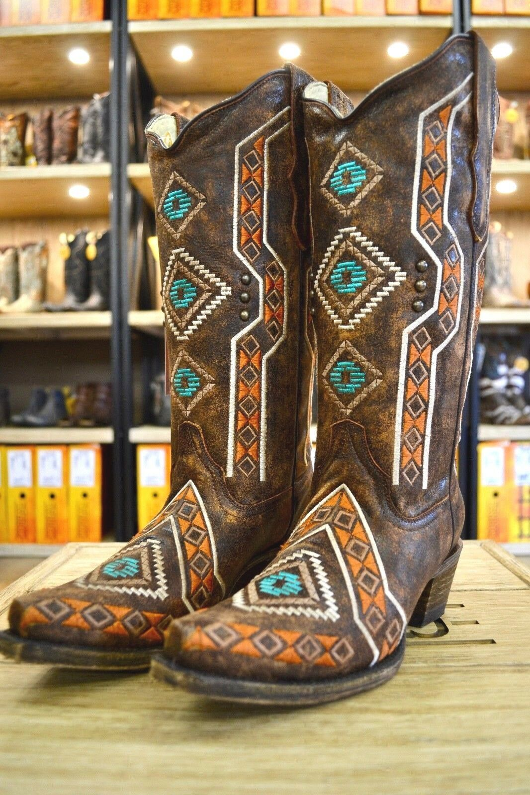 Corral Ladies Brown Ethnic Embroidery & Studs Snip Toe Western Boots E1178 SALE