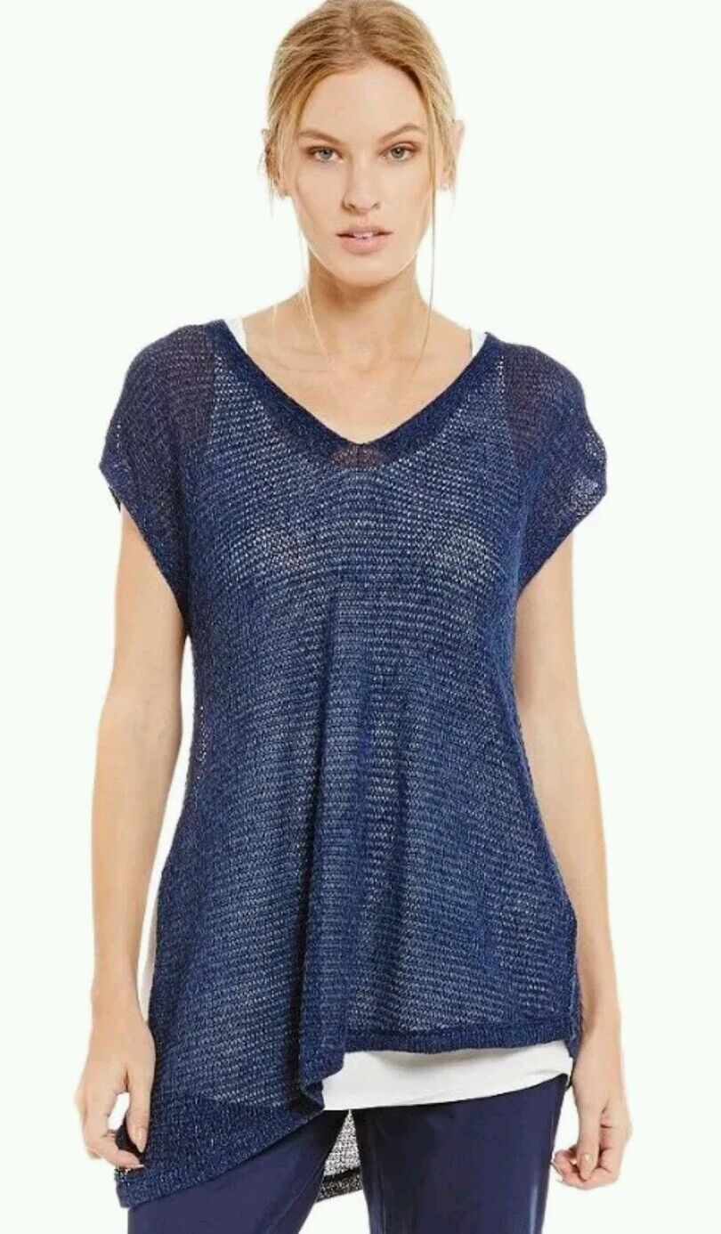 EILEEN FISHER Midnight Round Nk Tunic Top Organic Linen Größe L Retail  NWT