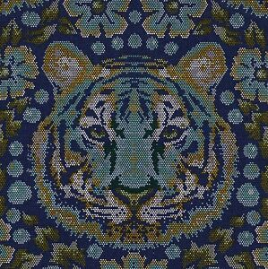 Details about EDEN Tula Pink CROUCHING TIGER in SAPPHIRE Fabric FQ QUILTING  Jungle ANIMAL Cat