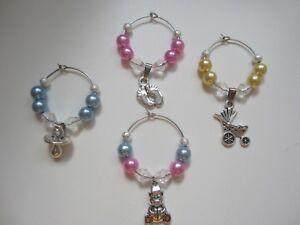 Baby-Shower-vino-in-vetro-charms-x-12-Favori-Boy-Girl-Tabella-Decorazioni-Champagne