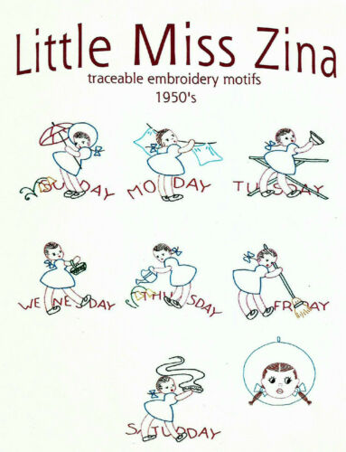 LITTLE MISS ZINA Vtg Embroidery Transfer Pattern