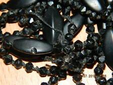 @@@Wunderschöne alte antike schwarze Onyx Trauerkette leider gerissen Handarb@@@