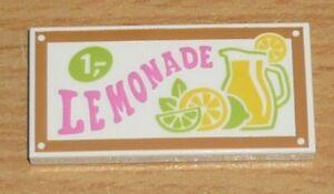 """Lego Friends 1 bedruckte Fliese 2 x 4 mit /""""Lemonade/"""""""