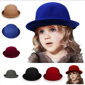 Fashion Kids Children Girl s Felt Trendy Round Top Bowler Derby Hat ... 44c5bb4e4e7