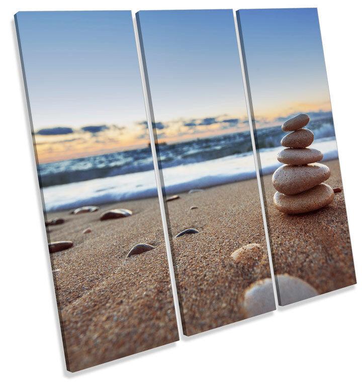 Sunset Pebble Tower Beach TREBLE CANVAS Wand Kunst Square Drucken Bild