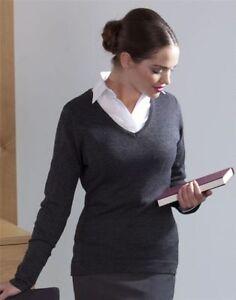 Henbury-Mujer-Casual-Formal-Calibre-12-Punto-Cuello-En-V-Completo-Mangas-Jersey