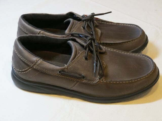 Crocs Shaw Boat Shoes comfort Espresso Black leather standard fit M 10.5 mens