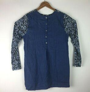 J-Jill-Women-s-Size-M-Denim-Blouse-Shirt-Tunic-100-Tencel-Long-Sleeve-Flower