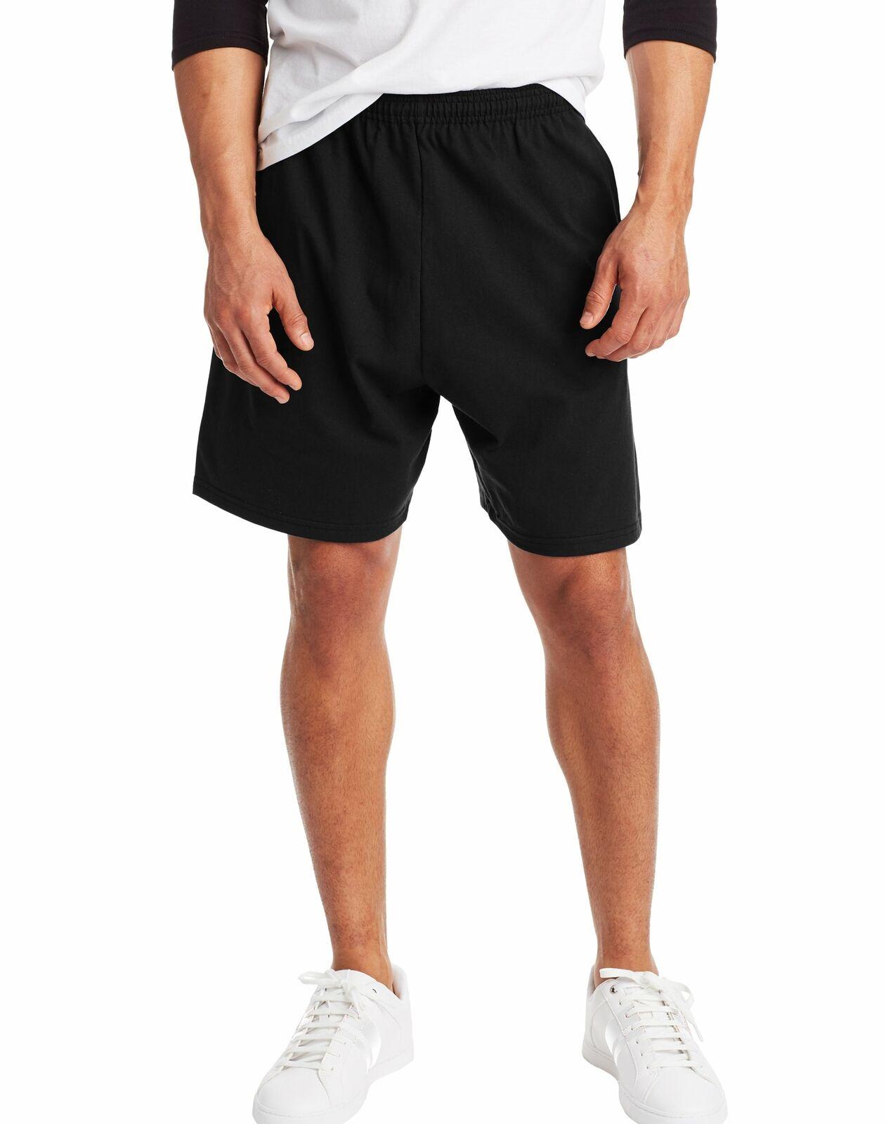 Hanes Men Shorts Jersey Pocket Elastic Waist 100% Cotton Solid 5 Colors S to 4XL