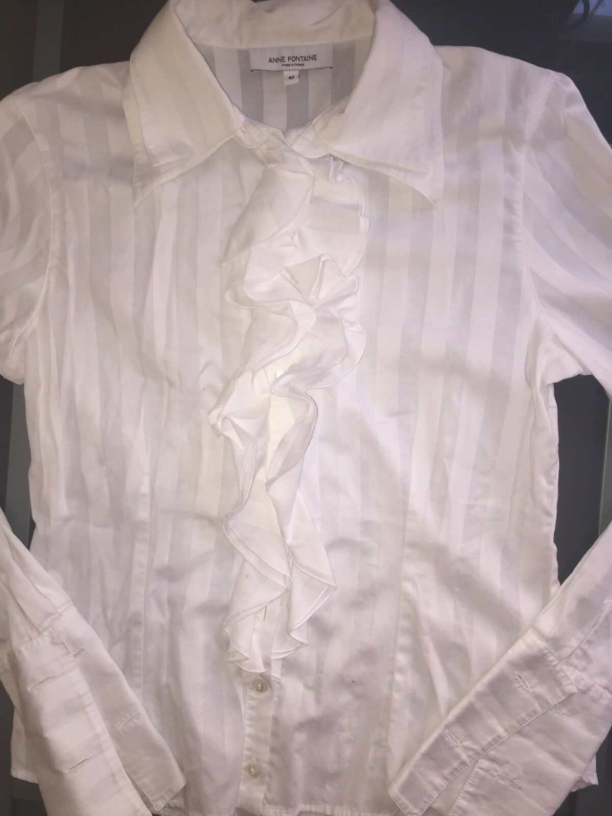 Anne Fontaine White Ruffled Blouse-Sz.40  - image 4