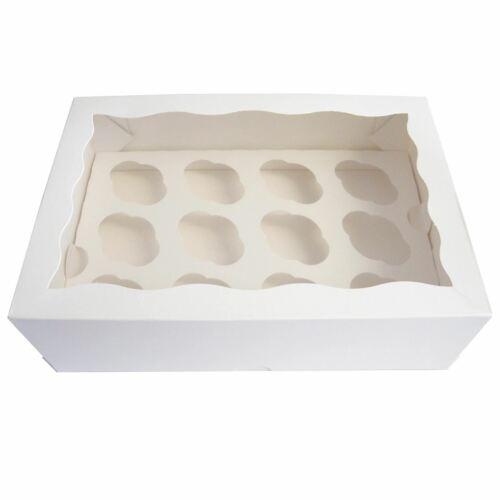 festonnée Design meilleur prix Blanc Cupcake Boîtes Avec Fenêtre feuilleté Premium