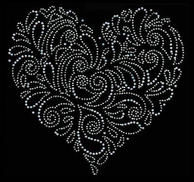 LOT OF 3  VINE HEART RHINESTONE IRON ON TRANSFER,GREAT ON TANKTOPS,SHIRTS