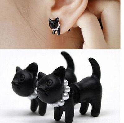 Punk Cool Simple Black Stereoscopic pearl Cat Kitten Impalement Stud Earring 1Pc
