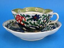 Antique DRESDEN Quatrefoil Floral Cup & Saucer