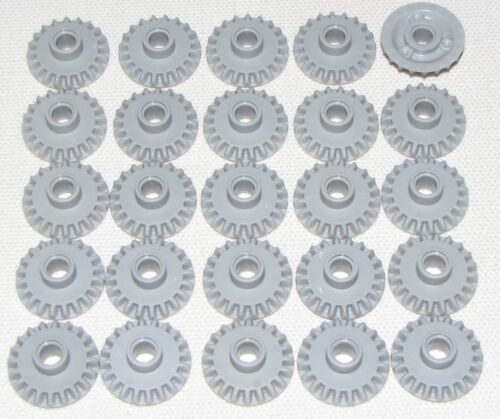 LEGO LOT OF 25 LIGHT BLUISH GREY 20 TOOTH BEVEL WITH PIN HOLE TECHNIC