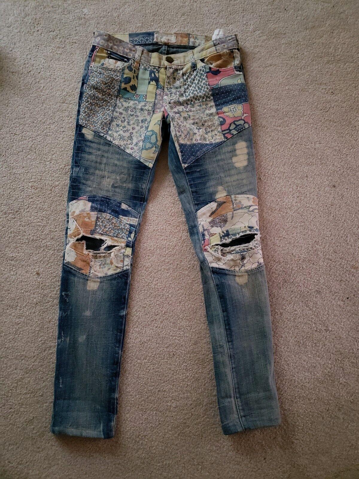 Current Elliott Women's Jeans Sz 25 Moto Ankle Skinny Drifter Patchwork Contrast