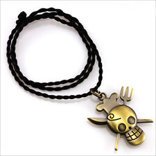 One Piece Sanji Skull Pirate Necklace Unisex Chain Pendant Cosplay Gift US Ship