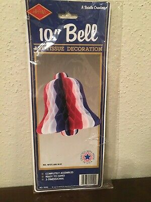 "July 4th Adroit Beistle Honeycomb Tissue Paper 10"" Bell 3d 4th Of July Decorations 1991 Holiday & Seasonal"