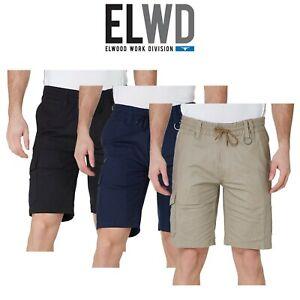 Mens-Elwood-Work-Elastic-Utility-Shorts-Cargo-Phone-Pocket-Cotton-Canvas-EWD203
