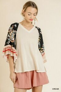 Umgee Bohemian Floral Print Ruffled Bell Sleeve Waffle Knit Cream Top Size S M