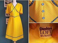True vintage 1960's bright yellow 'Diolen Loft' thick crimplene dress (#7)